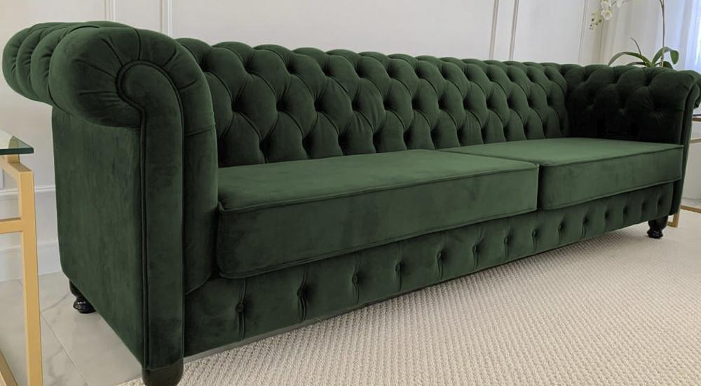 Sofá Fixo Verde   Chesterfield