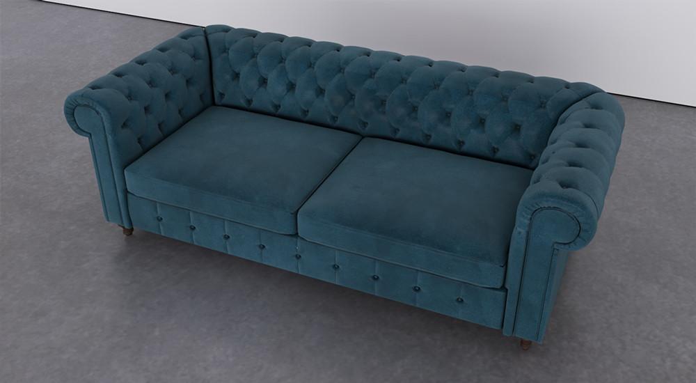 Sofá Fixo Azul Marinho | Chesterfield