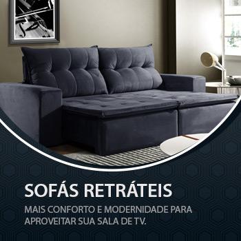 SOFÁS RETRÁTEIS E RECLINÁVEIS - Mais conforto e modernidade para aproveitar sua sala de TV.